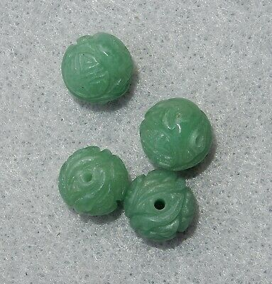 4 VINTAGE CHINESE HAND CARVED GREEN AVENTURINE SHOU BEADS 11.5mm FREE SHIPPING