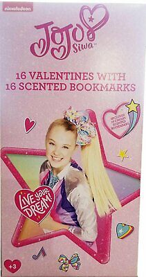 JoJo Siwa 16 Valentines with 16 Scented Bookmarks Classroom Exchange Cards