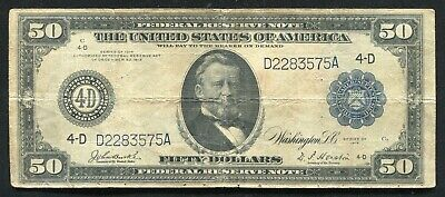Fr. 1038 1914 $50 Fifty Dollars Frn Federal Reserve Note Cleveland, Oh Very Fine