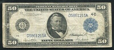 FR.1039b 1914 $50 FIFTY DOLLARS FRN FEDERAL RESERVE NOTE CLEVELAND, OH VERY FINE