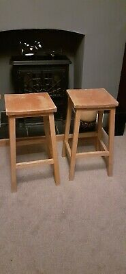 Pair Vintage Wooden School Lab Stools Carved Seat