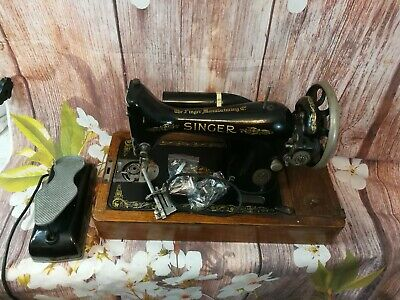 Vintage Singer Manufacturing Co with motor Antique Sewing Machine: Patented 1886