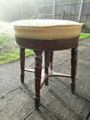 Antique Vintage Victorian Revolving Corkscrew Adjustable Piano Stool