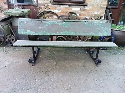 Victorian School Pitch Pine  Bench/ Desk Garden Seat