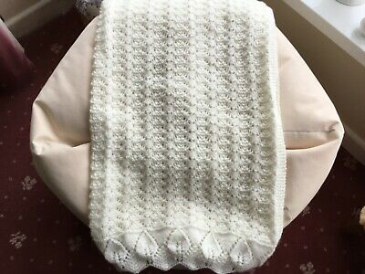 Hand Knitted baby blanket in DK cream