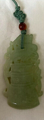 Antique Chinese Hand Carved Jade Pendant Dragon Phoenix Amulet Lucky Hang