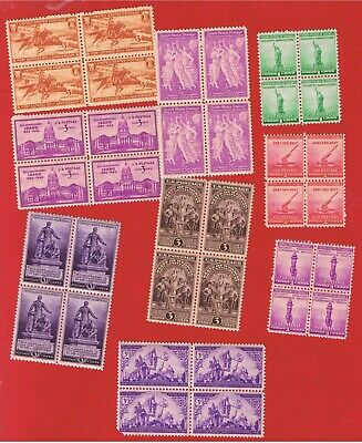 #894-902 MNH OG  blocks of 4 1940 Commemoratives complete   Free S/H