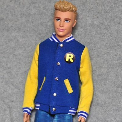 "Handmade doll Brown Baseball leather sleeves Jacket clothes for 12/"" ken dolls"