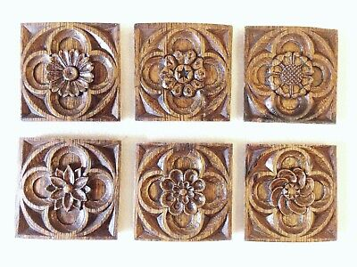 """6 Antique Oak Church Tracery Carvings """"Gothic Revival"""""""