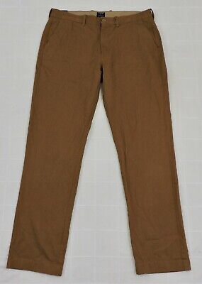 J CREW THE SUTTON NWT Mens Sz 35x32 Camel Brown Flat Front Slim Cotton Pants NEW
