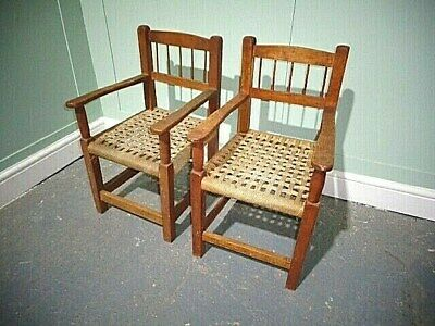 Antique Arts & Crafts Oak Pair Of Childs Chairs Vintage Cotswold School