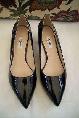 Ladies Clarks Black Leather Patent Court Shoes, Size 8