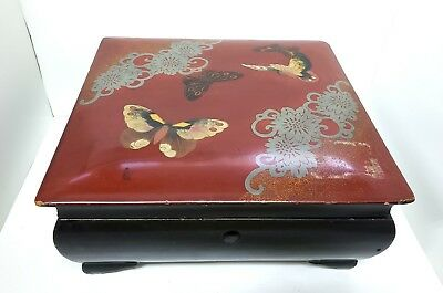 """Vintage Chinese Black Lacquer Painted Footed Lined Butterfly Box Marked 7.75"""""""