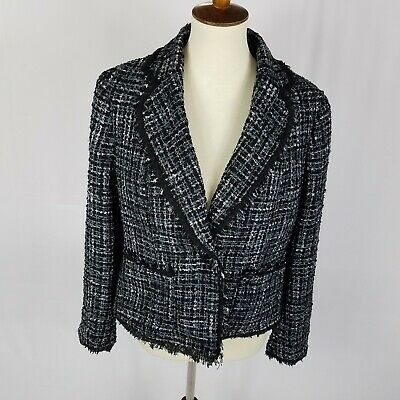Anne Klein womens blazer jacket size 14 gray blue fringe pockets msrp 149