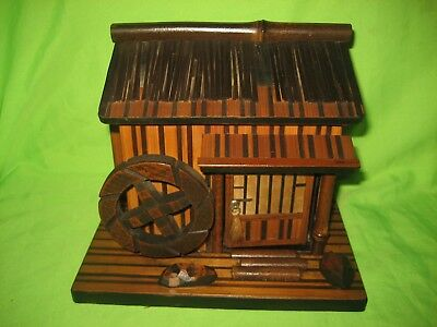 Old Paradise Oriental Wooden and Bamboo Music Jewellery Box Shape of House