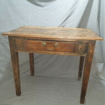 Small Antique Oak Early Georgian Side Table with Drawer
