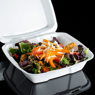 """6""""x6"""" Foam Hinged Lid Containers Deli Lunch Take-out Food Container 25 Pieces"""