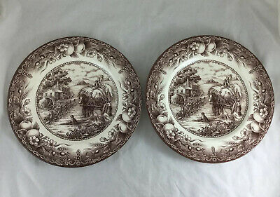 Royal Stafford Fine Earthenware Dinner Plates Harvest Home Hayride Scene England