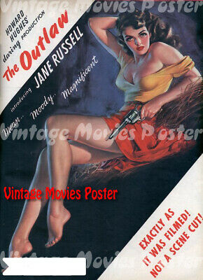 The Outlaw Jane Russell Howard Hughes cult western movie poster print 1943
