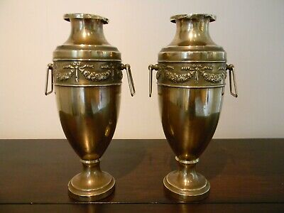 "Pair Of Beldray Co Ltd"" Of Wolverhampton Brass Early 20th Century Art Deco Vases"