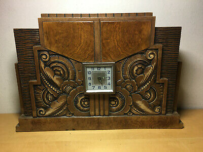 Used - Art Deco Table Alarm Clock Bayard Watch Desktop Art Deco Wood Wood