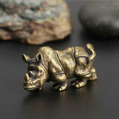 Chinese Collection Asian rhinoceros Antique Collectible Brass Exquisite statue