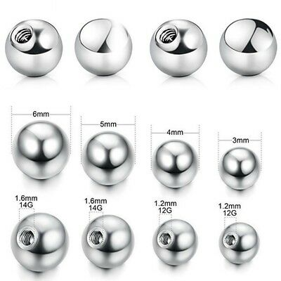 Set 2 Piercing Jewelry Clasp Balls Steel Anodized IN 4mm With 1,2mm Thread