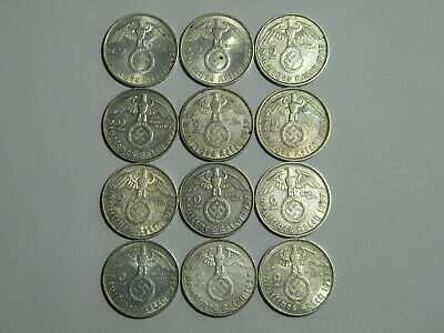 2 5 Set of Germany 8 coins 1 10 pfennig  with Swastika-55 2 Reichsmark