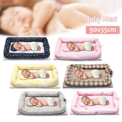 0.9M Baby Nest Cot Snuggle Portable Bed Pillow Brown Plaid Surround Pillow Warm