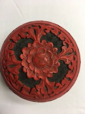 Antique Chinese Cinnabar Red Lacquer Covered Round Box Blue Enamel Lidded Dish