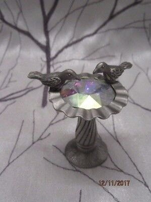 Vintage Spoontiques Fine Pewter Bird Bath With Crystal Center