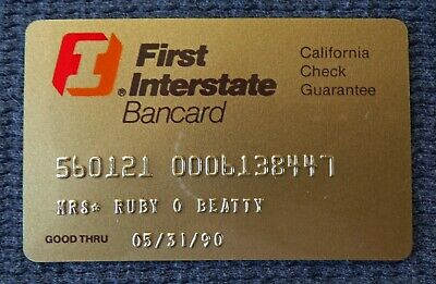 Vintage 1990 First Interstate Bank Bancard Credit Charge Card Expired Collectibl