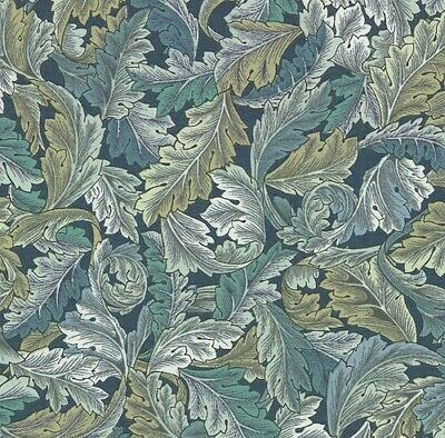 William Morris Stone Green Floral Feather Leaves - cotton fabric.