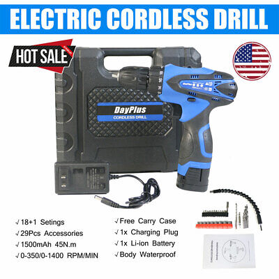 Top Cordless Drill 16.8V Combi Impact Driver Electric Screwdriver Kit 1 Battery
