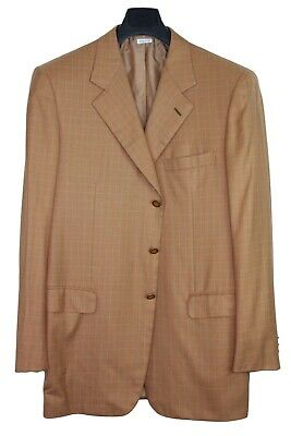BRIONI 'Traiano' Orange Cashmere & Silk Blazer Sport Coat w/ Metal Buttons 44L