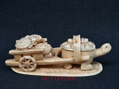 Collection Ancient Asian Chinese Old Hand Carved Turtle Cart Lovely Decoration