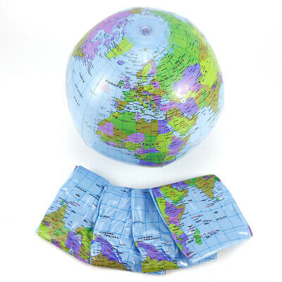 Inflatable Globe Blow Up World Map Atlas Ball Earth 40cm Fancy Dress Toy Fun New