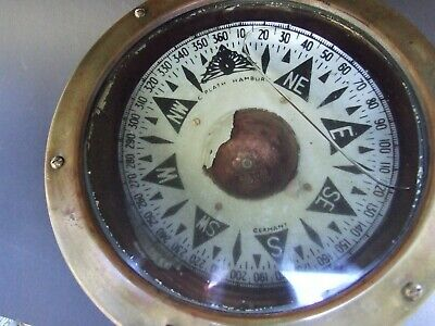 Antique GERMAN S.PLATH HAMBURG OLD  BRASS SHIP NAUTICAL COMPASS DECOR RARE