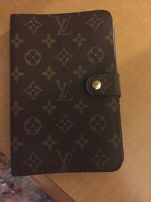 Auth LOUIS VUITTON POCKET DIARY Notebook Day Planner Cover Monogram  Brown & Pen