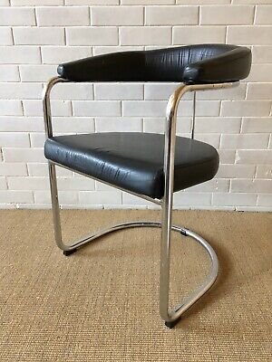 Vintage Art Deco Styled Original Evertaut Occasional Chair Black Leather Chrome