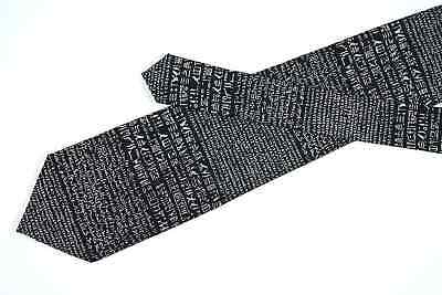 British Museum tie Black and white silk necktie with ancient writings print