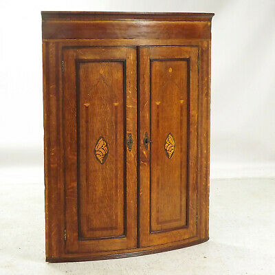 Antique Bow Front Corner Cupboard  (delivery available) Inlaid Oak & Mahogany