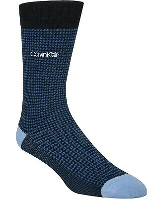 $14.00 One(1) Pair Calvin Klein Men's Houndstooth Socks, Blue, Shoe Sizes 7-12