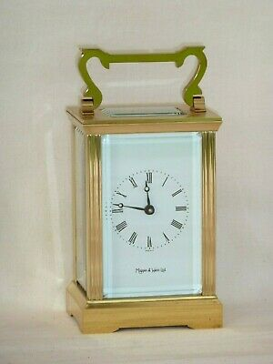 Superb, Mappin & Webb 8 Day Solid Brass Carriage Mantle Clock + Display Case