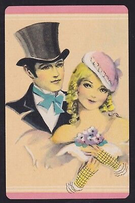 1 Single VINTAGE Swap/Playing Card WEDDING COUPLE TOP HAT GENT + CHIC LADY