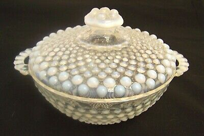 Vintage MOONSTONE Anchor Hocking Opalescent Hobnail Covered Candy Dish