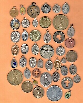 LARGE LOT of RELIGIOUS CATHOLIC MEDALS Charm PENDANT Cross Token