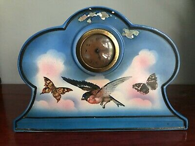 ** Stunning Painted Victorian Ceramic Porcelain Mechanical Clock **