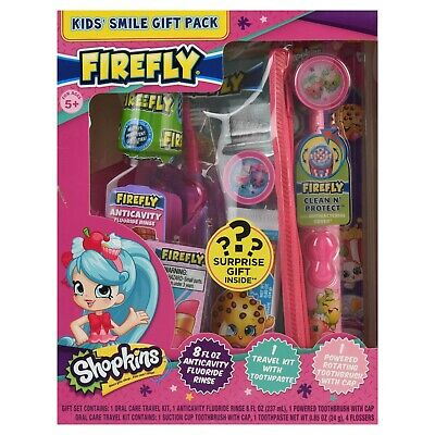 SHOPKINS Firefly Toothbrushes Toothpaste Mouthwash Travel Oral Dental Travel Set