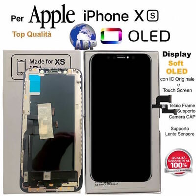 Display OLED Touch Screen Frame per Apple iPhone XS Nero Originale TIANMA